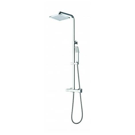 Ensemble de douche chrome - mitigeur thermostatique - tete 20 x 20 cm - Kisco - AZZURO