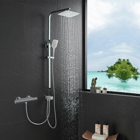 Ensemble de douche Colonne de douche avec Tete de Douche carré, Douchette 3 Jets et Flexibles de douche 1,50 m Set Système de douche pour Salle de Bain Baignoire