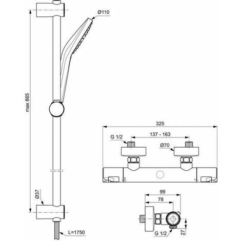 Ensemble de douche thermostatique - CERATHERM T50 - barre 90 cm et douchette ronde Ø11 cm 3J - Chrome - Ideal Standard