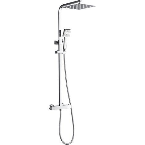 Ensemble de douche Thermostatique Tête de douche ultra-mince de 10 pouces Colonne de douche Showerpipe Hauteur Réglable inox 304 avec Tuyau de Douche salle de bain