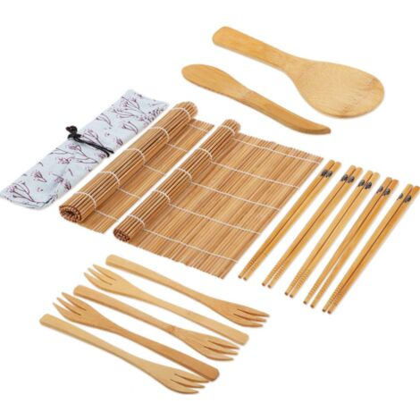 Ensemble de fabrication de sushis 15 pièces Moule à sushi en bambou pour tapis de sushi