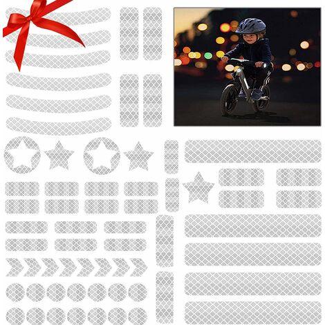 Ensemble de film réfléchissant autocollant autocollant réflecteur 42 pièces pour le marquage de sécurité des poussettes, vélos, casques avec autocollants