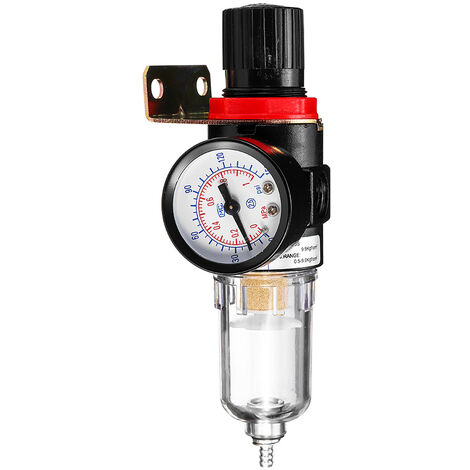 Ensemble de filtre regulateur de pression AFR-2000 1/4 a affichage double echelle psi et MPa (filtre regulateur de pression + 2 connecteurs rapides + support)
