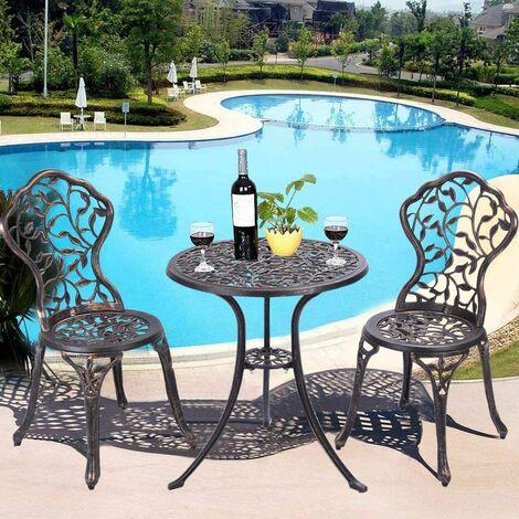 Ensemble de Jardin 1 Table et 2 Chaises d\'Exterieur en Aluminium Salon de  Jardin Set Bistrot 3 Pièces