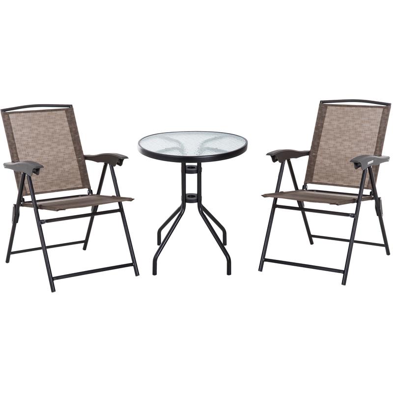Ensemble de jardin 3 pièces 2 chaises inclinables multi-positions ...