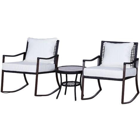 Ensemble de jardin 3 pièces style cosy 2 fauteuils à bascule avec coussins assise dossier + table basse résine tressée brun crème