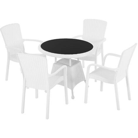 Ensemble de jardin 4 pers. ensemble bistro style cosy table plateau verre trempé 4 fauteuils polypropylène imitation rotin blanc