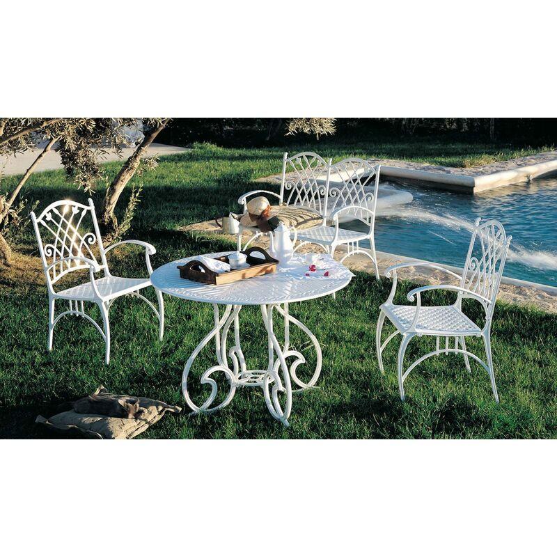 Ensemble de jardin 2 places en métal aluminium laqué blanc