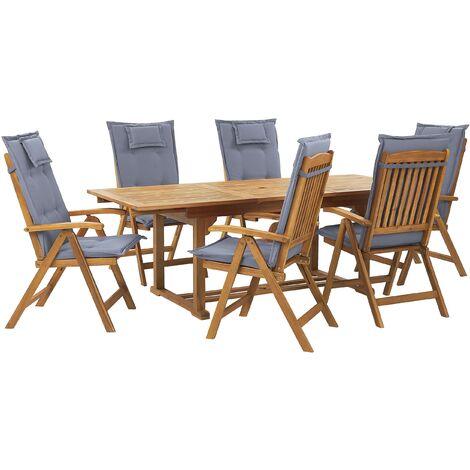 Ensemble de jardin 6 places en bois clair coussins bleus JAVA