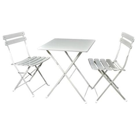 Ensemble de jardin de 2 chaises pliantes + 1 table pliante en fer coloris  ivoire - PEGANE -