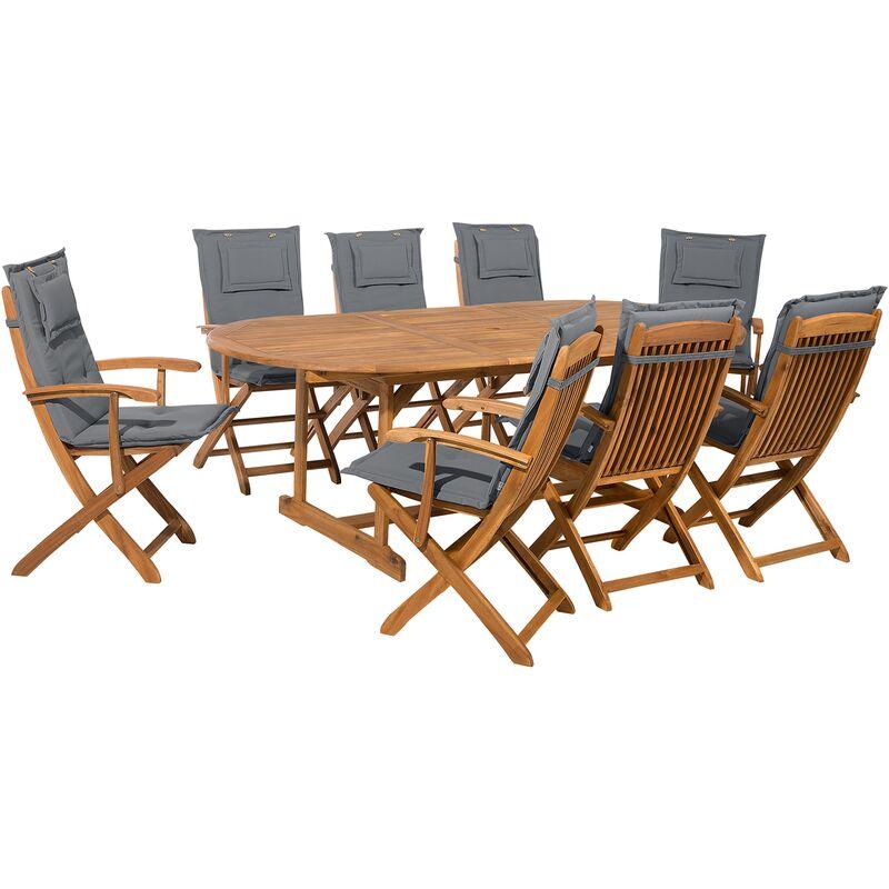 Ensemble de jardin de 8 chaises avec coussin assise gris foncé Maui