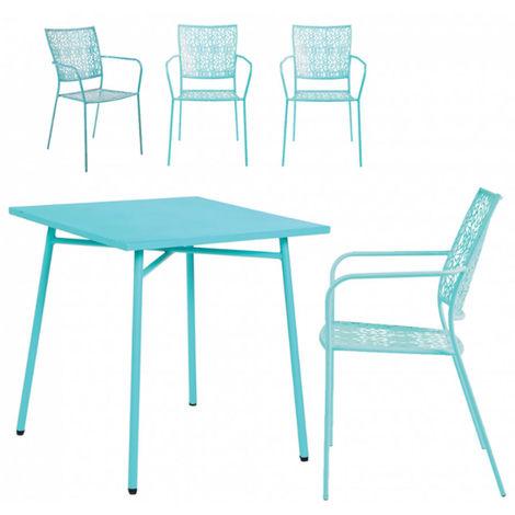 Ensemble de jardin en acier coloris bleu lagon avec une table + 4 ...