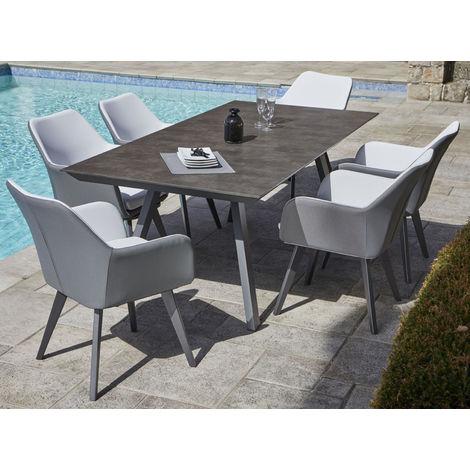 Charmant Ensemble De Jardin En Aluminium Avec Table Ardoise Et 8 Fauteuils  Anthracite Et Blanc  PEGANE
