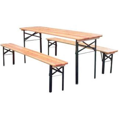 Ensemble de jardin en bois composé d'une table + 2 bancs - bois 28 mm d'épaisseur