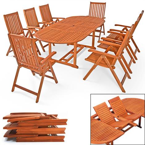 Ensemble de jardin en bois d\'eucalyptus Moreno Table et chaises ...