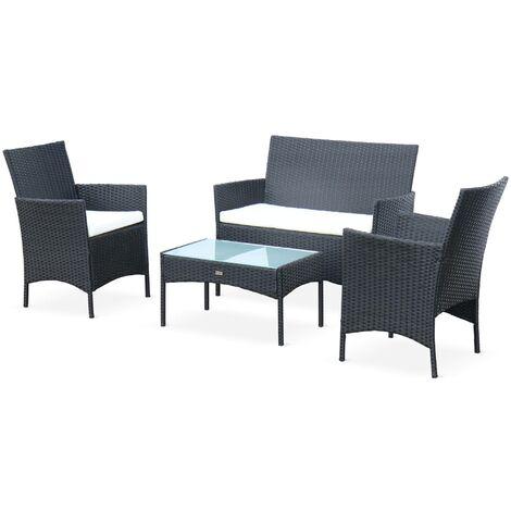 Ensemble de jardin en résine tressée, salon 4 places noir Noir fauteuil Moltès