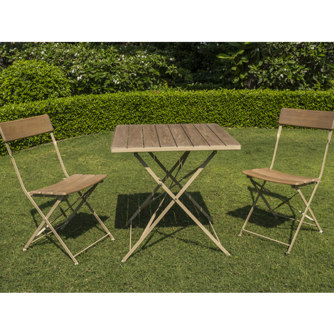 Ensemble de jardin en robinier cérusé - BISTRO - 1 table + 2 chaises ...