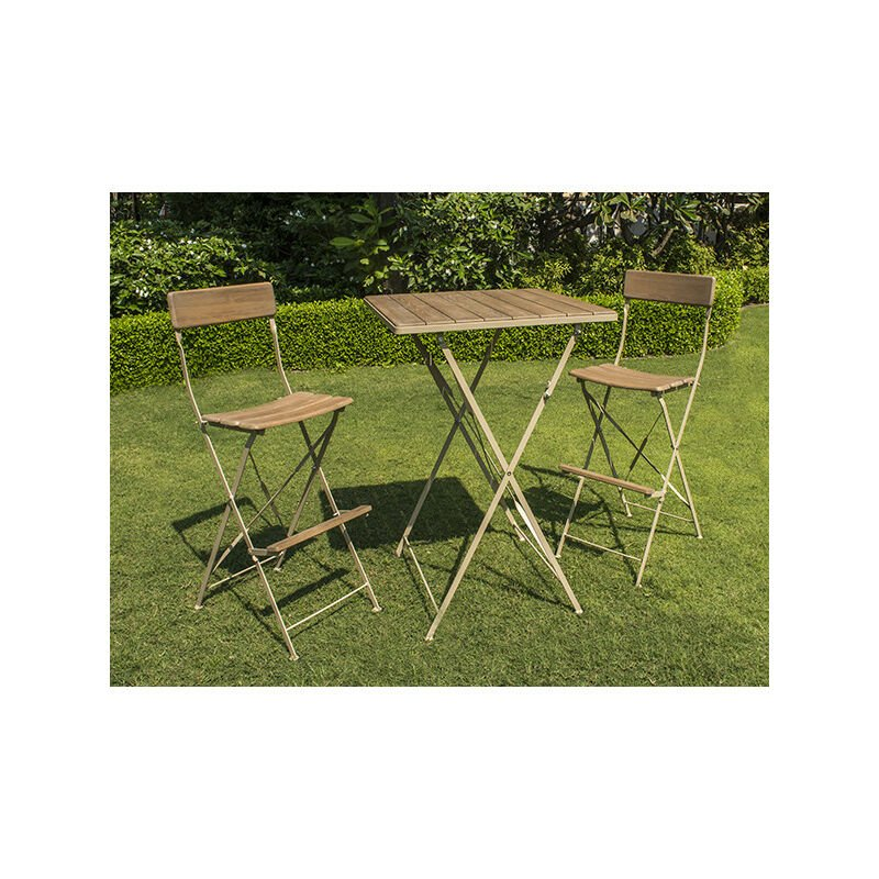 Ensemble de jardin en robinier cérusé - MANGE DEBOUT - 1 table + 2 chaises  hautes