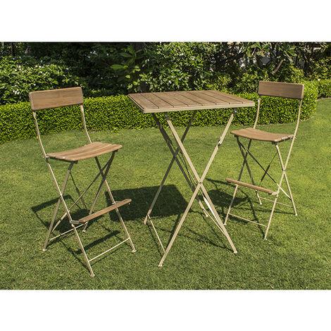 Ensemble de jardin en robinier cérusé - MANGE DEBOUT - 1 table + 2 ...