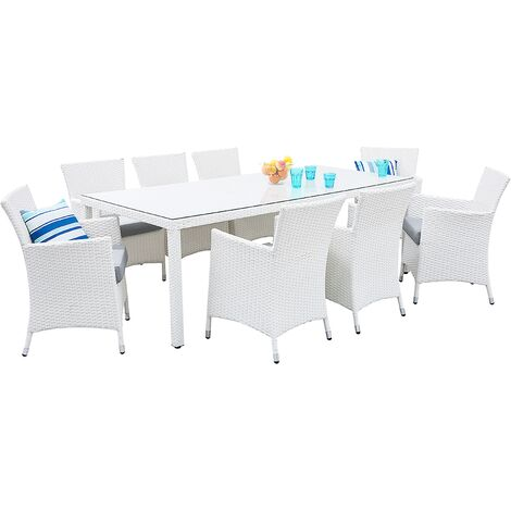 Ensemble de jardin en rotin blanc 8 places avec coussins gris ITALY