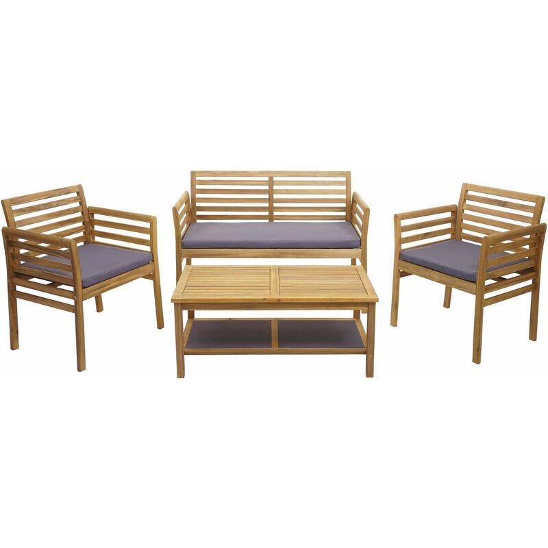 Ensemble de jardin 218b, groupe de sièges pour balcon, bois d'acacia massif ~ coussins gris foncé - HHG
