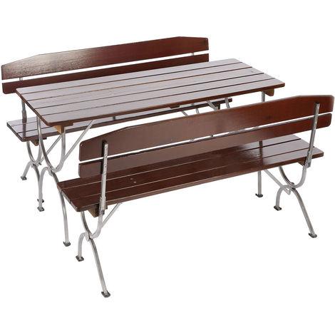 Ensemble de jardin LINZ, table + 2 bancs, bois massif, pliable, 150cm