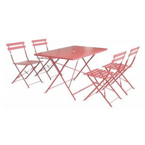 Ensemble de jardin pliant BISTROT - Terre cuite (1 table + 4 chaises)