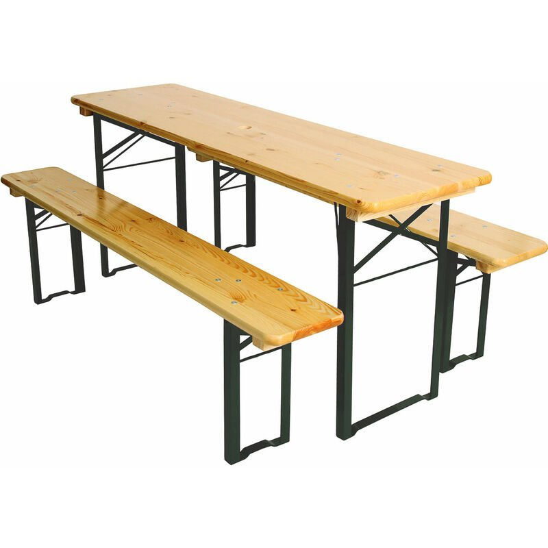Ensemble de jardin, table +2 bancs Vienne, pliables, métal vert, bois de pin massif