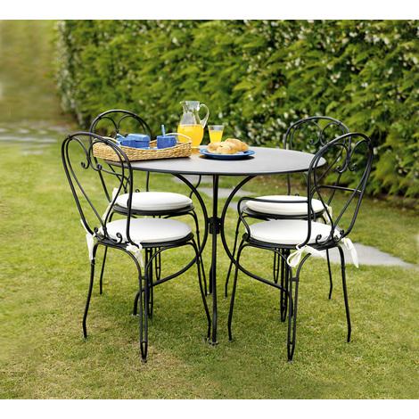 Ensemble de jardin table + 4 chaises avec coussins coloris ecru - A USAGE PROFESSIONNEL