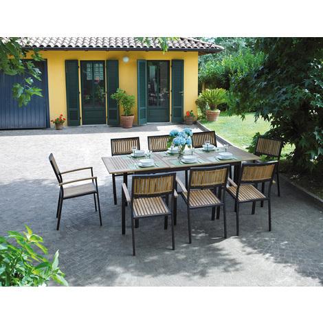 Ensemble de Jardin table + 8 chaises en Teck/Alu- 150/210 x 90 cm