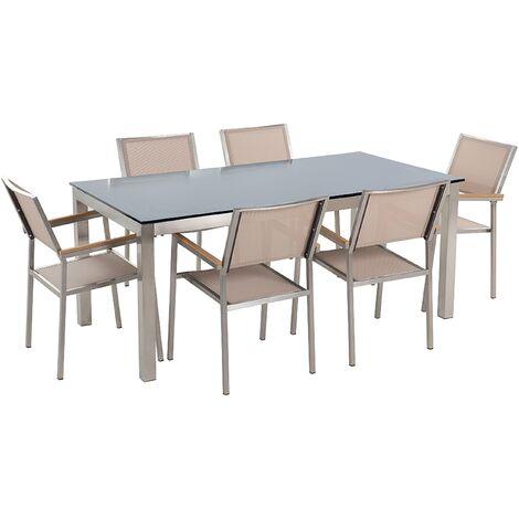 Ensemble de jardin table en verre noire 6 chaises beiges GROSSETO