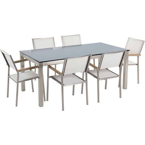 Ensemble de jardin table en verre noire et 6 chaises blanches GROSSETO