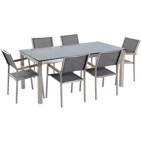 Ensemble de jardin table en verre noire et 6 chaises grises GROSSETO