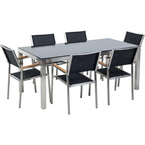 Ensemble de jardin table en verre noire et 6 chaises noires GROSSETO