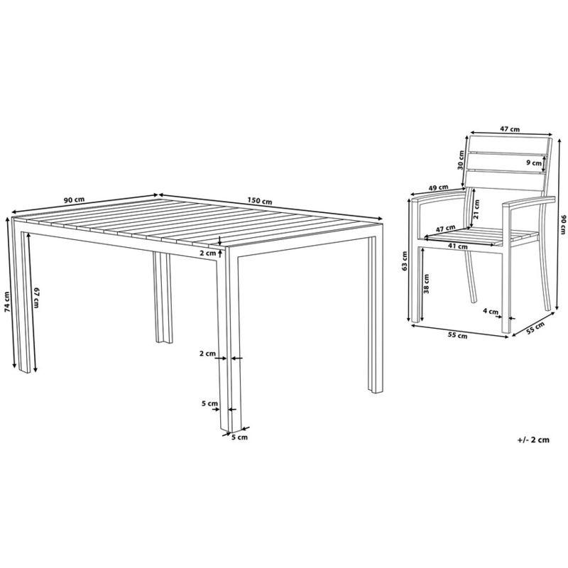Table Et Ensemble Marron De Plastique Chaises Jardin Aluminium KT3JF1cl