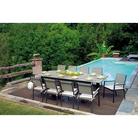 Ensemble de Jardin table extensible + 10 chaises coloris Gris - 220/280 x  100 cm