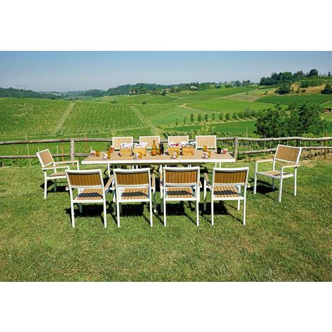 Ensemble de Jardin table extensible + 10 chaises empilables en résine  coloris noyer - 180/250 x 96cm