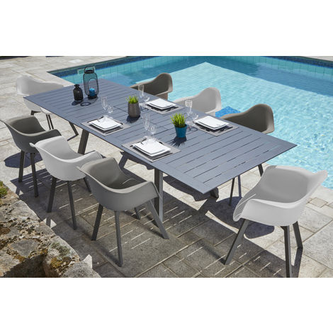 Ensemble de jardin table extensible et 8 fauteuils coloris blanc et taupe  -PEGANE-