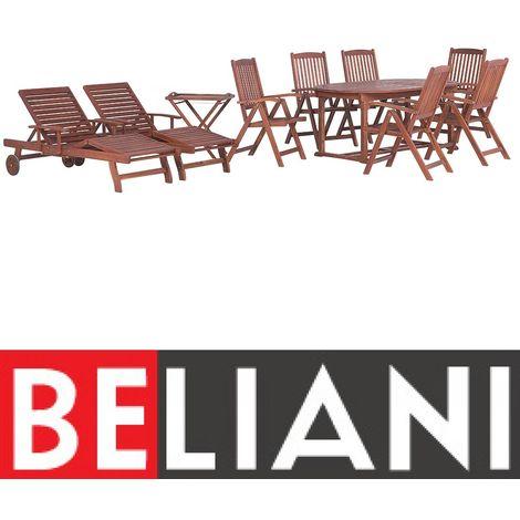 Ensemble de jardin, table ovale + 6 chaises en bois, 2 transats, 1 ...