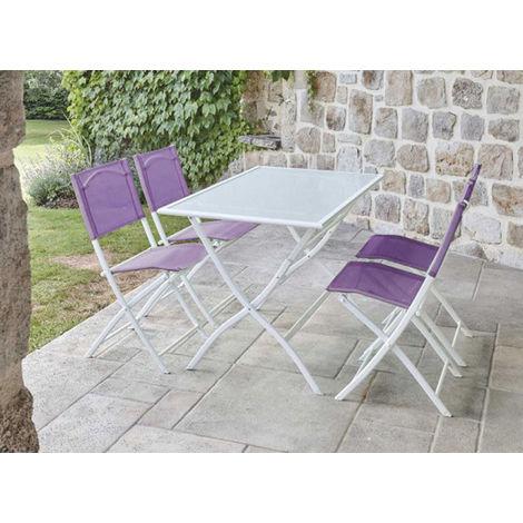 Ensemble de jardin table rectangulaire blanche + 4 chaises pliantes  aubergine -PEGANE-