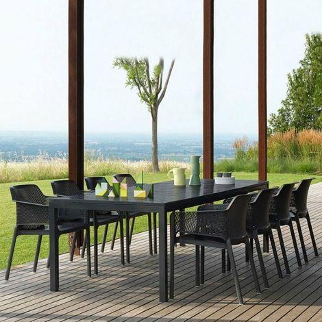 de Table jardin Rio NARDI Net Anthracite 280x100 et fauteuils Table Ensemble extensible 210 Extérieur b7f6yg