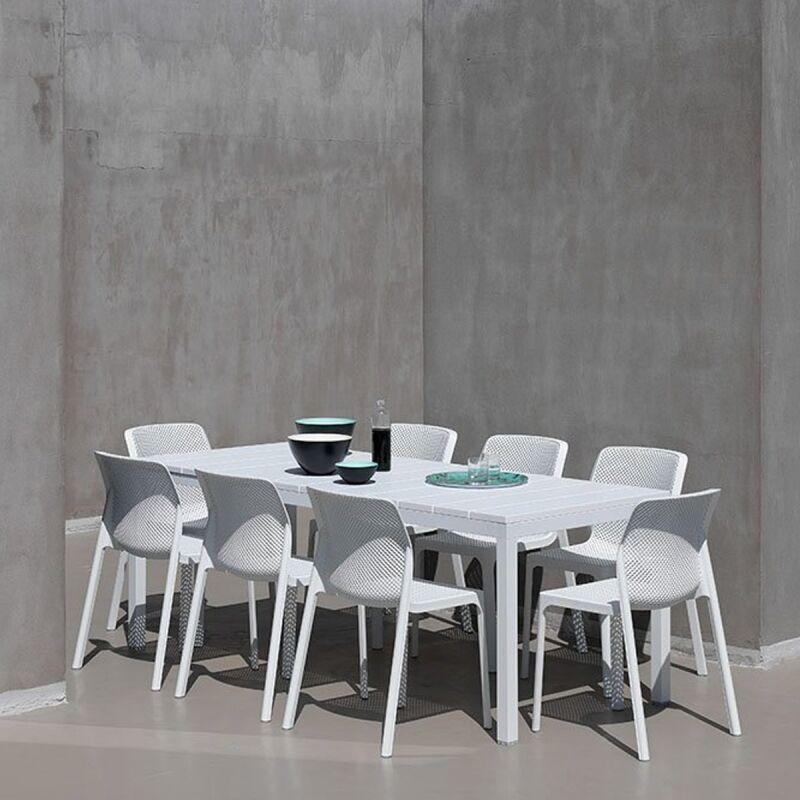 Ensemble de jardin Table Rio 210/280x100 et 10 chaises Bit NARDI - Blanc - Extérieur - Table extensible - Blanc