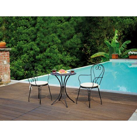 Ensemble de jardin table rond + 2 chaises en fer forgé coloris noir H 72 x  L 60 x Ø 60 cm - A USAGE PROFESSIONNEL