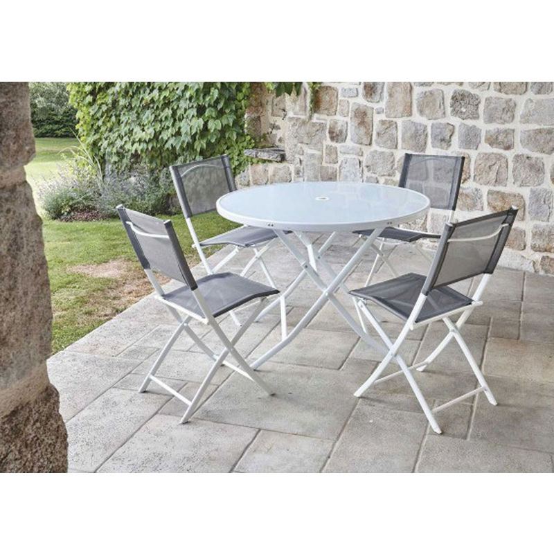 Ensemble de jardin table ronde blanche + 4 chaises pliantes anthracites  -PEGANE-