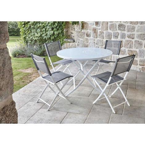Ensemble de jardin table ronde blanche + 4 chaises pliantes ...