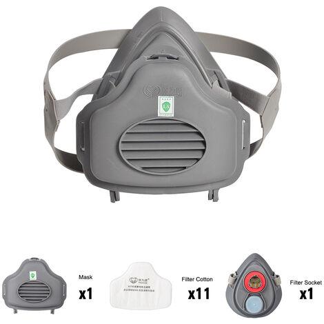 Ensemble de masques en caoutchouc Baoweikang 3700, masque anti-poussiere de qualite KN95 (comprenant 1 prise, 1 coton filtre, 1 demi-masque + 10 autres filtres en coton)