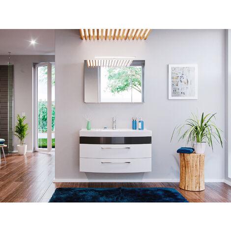 Ensemble de Meuble de salle de bain de 3 pièces Malema 100cm en Anthracite-Blanc