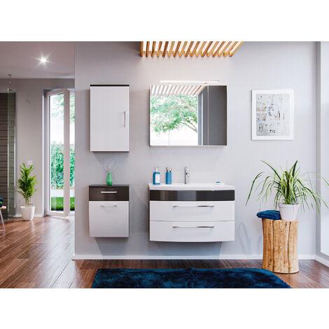 Ensemble de Meuble de salle de bain de 5 pièces Malema 80cm en Anthracite-Blanc