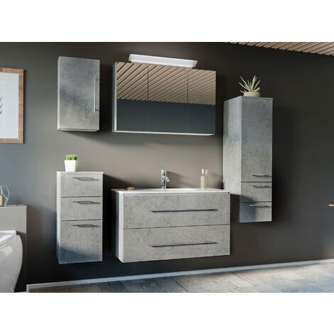 Ensemble de meuble de salle de bain Optimo 100 (5 Pièces) Aspect Béton