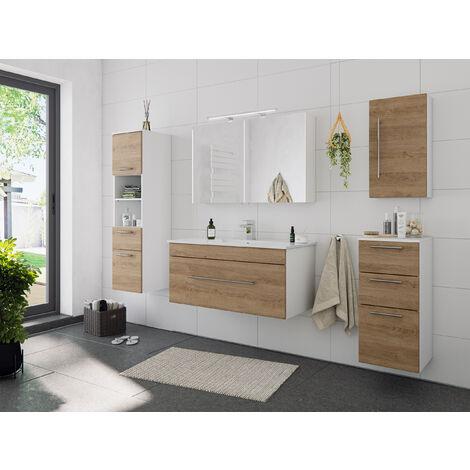 Ensemble de meuble de salle de bain SANTINI 100 (5 Pièces) décor chêne